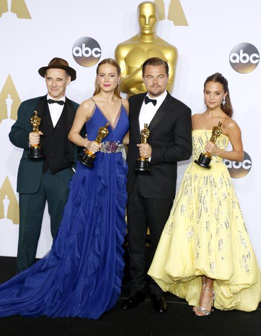 Марк Райлэнс (Mark Rylance), Бри Ларсон (Brie Larson), Леонардо Ди Каприо (Leonardo DiCaprio), Алисия Викандер (Alicia Vikander) / © PopularImages / Depositphotos.com