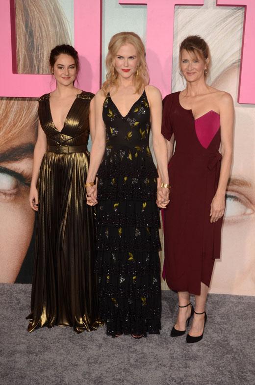 Актрисы Шейлин Вудли (Shailene Woodley), Николь Кидман (Nicole Kidman), Лора Дерн (Laura Dern)